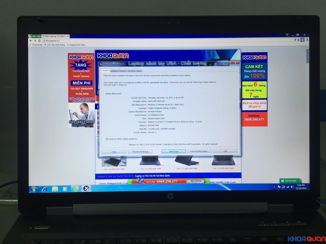 HP Elitebook 8760W-i7-17-10