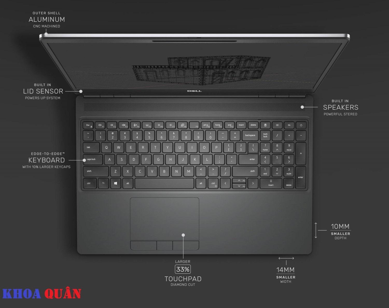 Bàn phím và bàn di chuyển chuột của Precision 7550