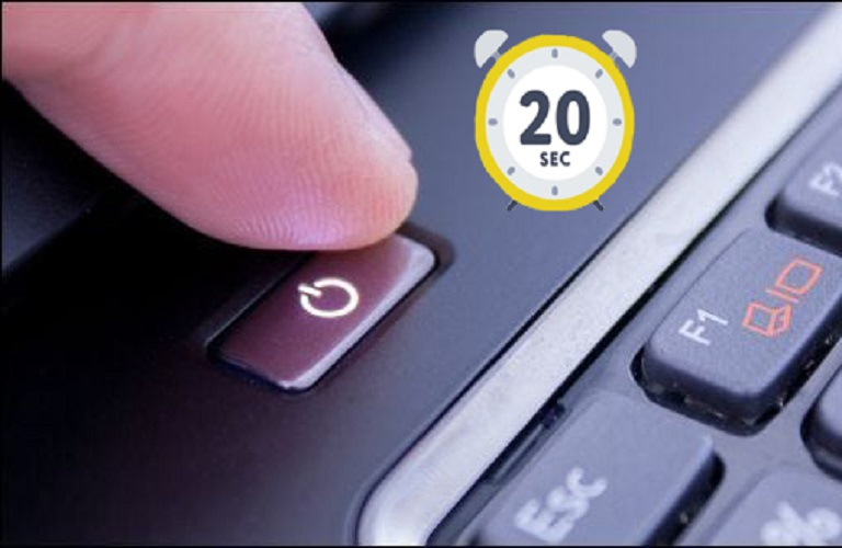 Nhấn giữ nút nguồn trong vòng 30 giây để máy xả hết phần tĩnh điện gây lỗi