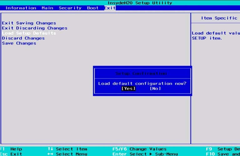 Thiết lập BIOS về cài đặt gốc để sửa lỗi