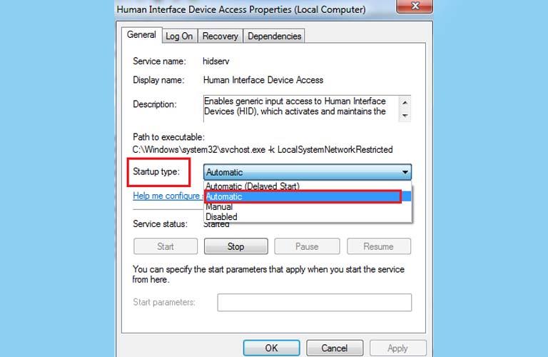 Cài đặt lại trạng thái Automatic cho chức năng Human Interface Device Service