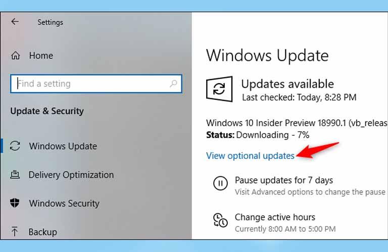 Cập nhật phần mềm hệ thống của Windows lên các phiên bản mới nhất