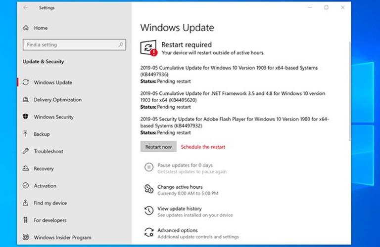 Cập nhật phần mềm hệ thống Windows sau khi áp dụng chế độ Safe Mode