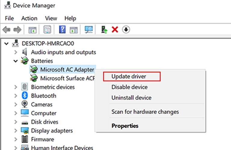 Cập nhật Driver cho máy tính xách tay thông qua Device Manager