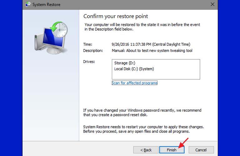 Cách sử dụng Restore Points để khôi phục lại cài đặt đã lưu