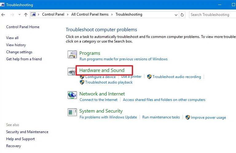 Sửa lỗi bằng bằng cách sử dụng Sound Troubleshooter