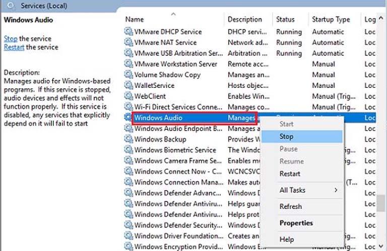 Khởi động lại chức năng Windows Audio cho máy