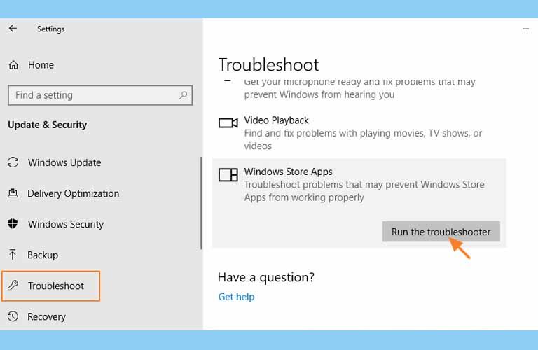 Từ danh sách các thiết bị của Troubleshooter chọn dòng Run the troubleshooter