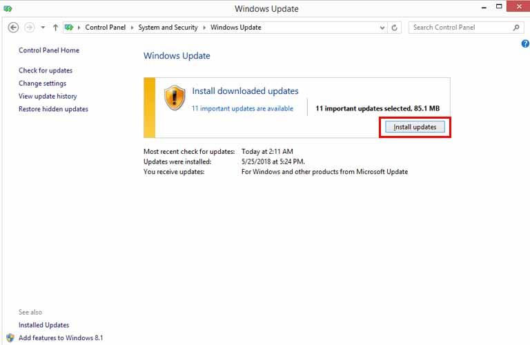 Ta bấm vào Install updates trong cửa sổ Windows Update để cập nhật các phần mềm hệ thống