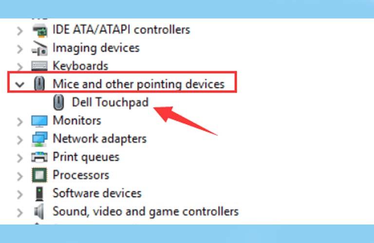 Click chuột phải vào mục có chứa từ Touchpad để tiến hành cập nhật
