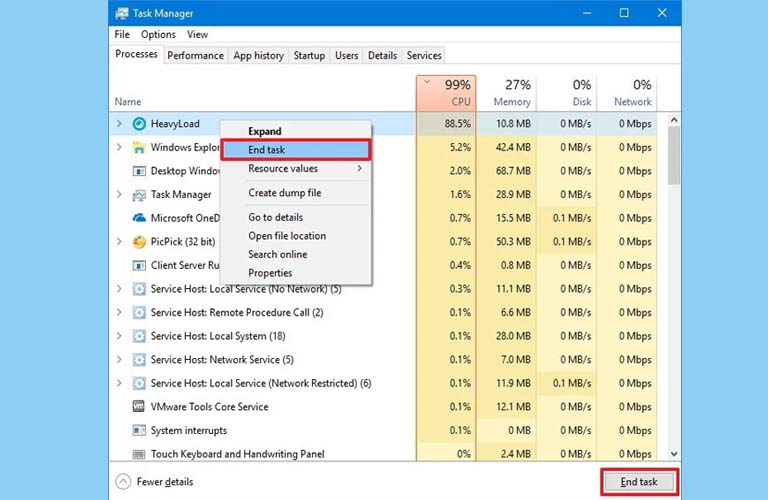 Các bạn có thể click chuột phải hoặc nhấn End Task sau khi đã chọn ứng dụng cần tắt