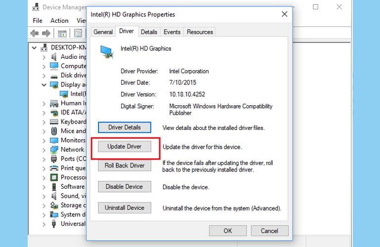 Bạn hãy bấm vào Update Driver để có thể cập nhật được phiên bản mới nhất cho card màn hình