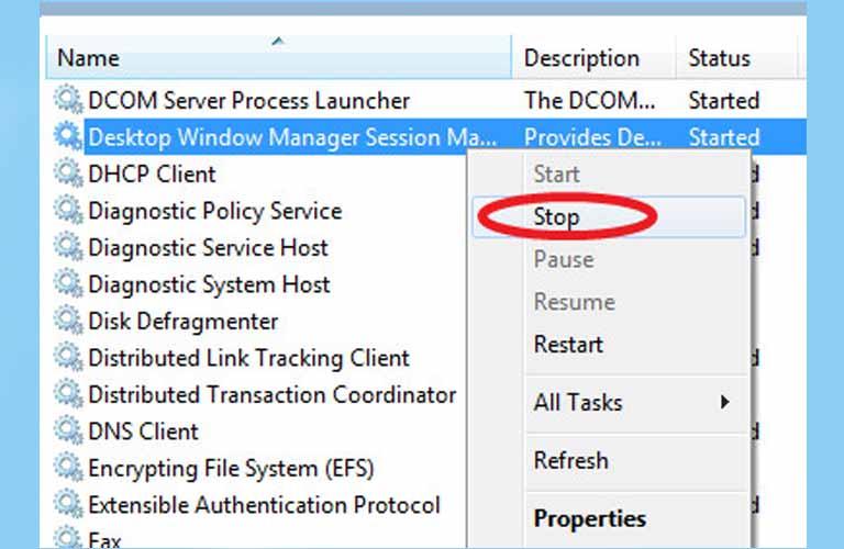 Chọn Stop cho những ứng dụng, phần mềm không sử dụng để tránh gây ra lỗi chớp tắt