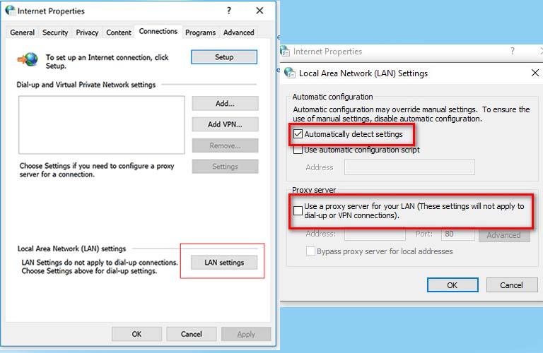 Các bước thực hiện việc ngắt kết nối với Proxy trên laptop