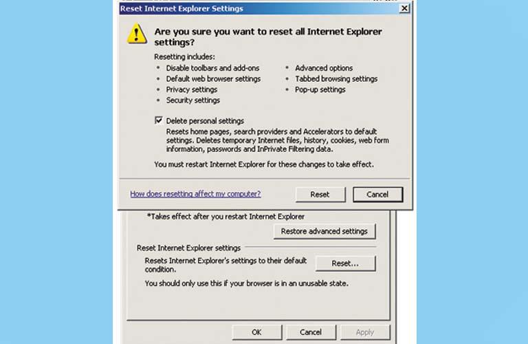 Mọi người hãy tích vào dòng chữ Delete personal settingsrồi nhấn nút Reset ở bên dưới cửa sổ