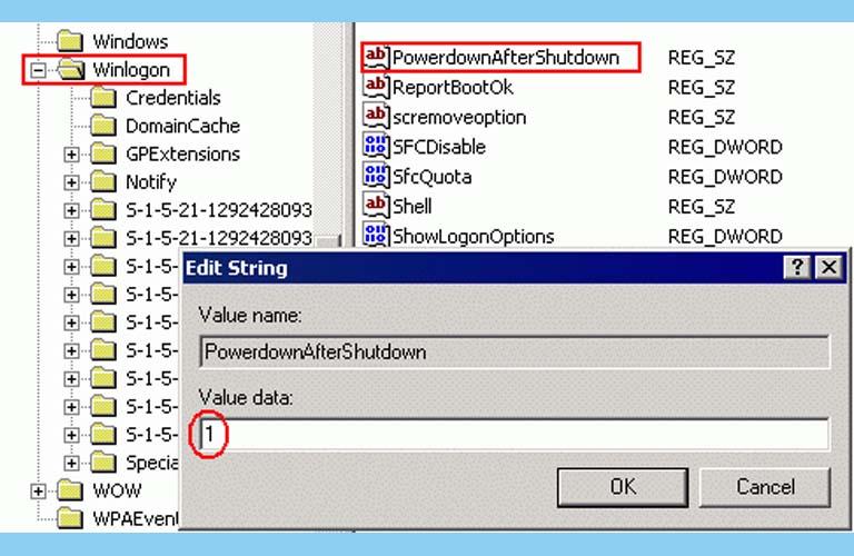Click chuột hai lần vào PowerDownAfterShutdown rồi nhập số 1 vào phần Value data sau đó nhấn OK