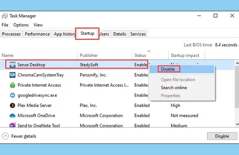 Tại tab Startup thì click chuột phải vào những ứng dụng đang còn hoạt động và chọn Disable