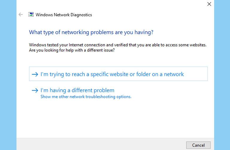 Bấm vào dòng chữ I'm having a different problem để hệ thống tìm lỗi