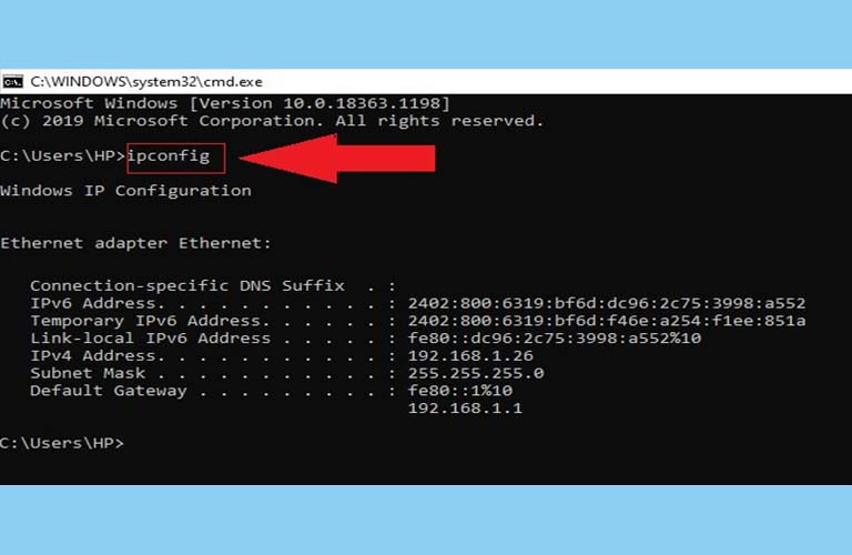 Bạn chờ cho lệnh ipconfig chạy hết rồi kiểm tra lại máy tính của mình