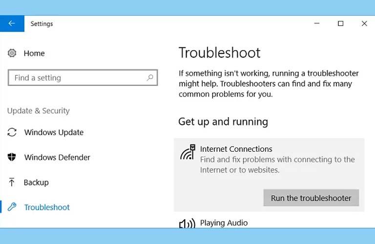 Nhấn vào Internet Connections rồi tiếp tục nhấn vào Run the troubleshooter